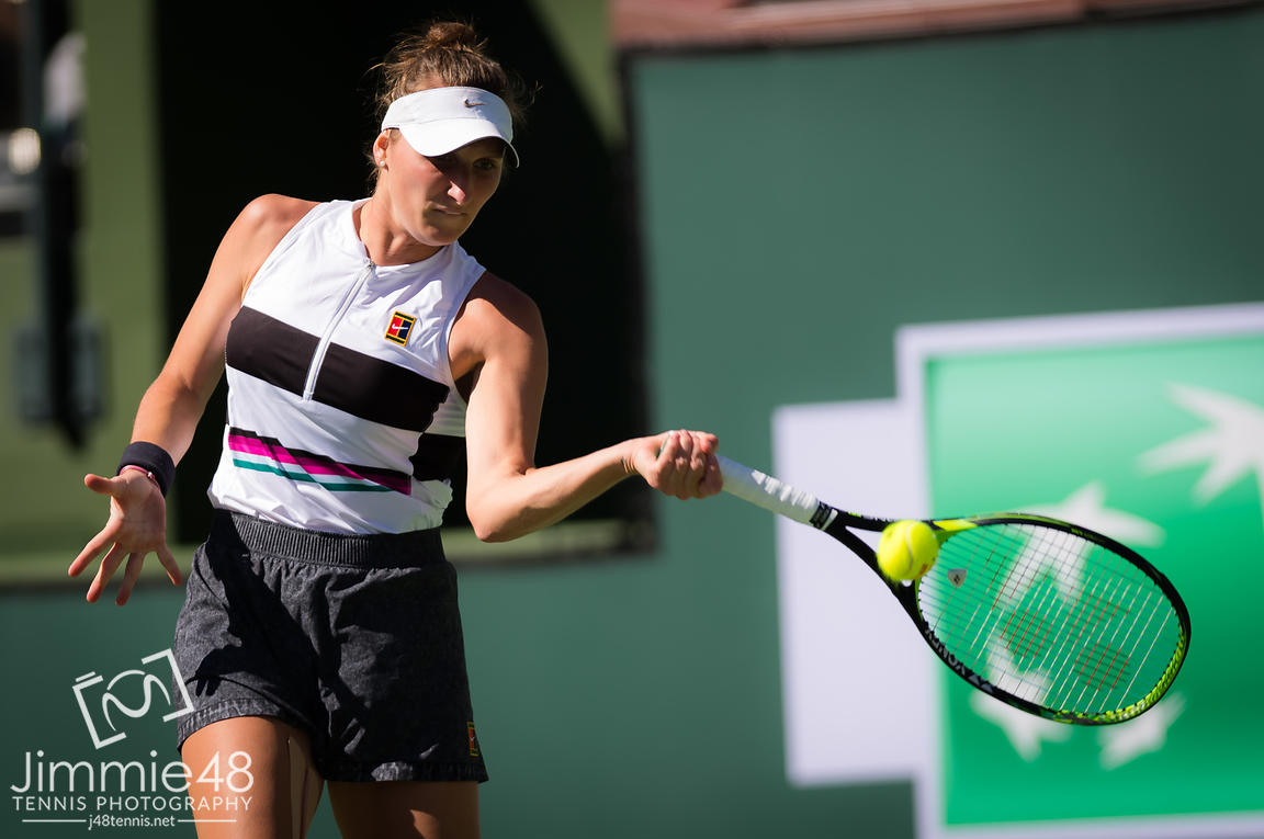 Marketa Vondrousova of the Czech Republic in action during her fourth-round match at the 2019 BNP Paribas Open WTA Premier Mandatory tennis tournament