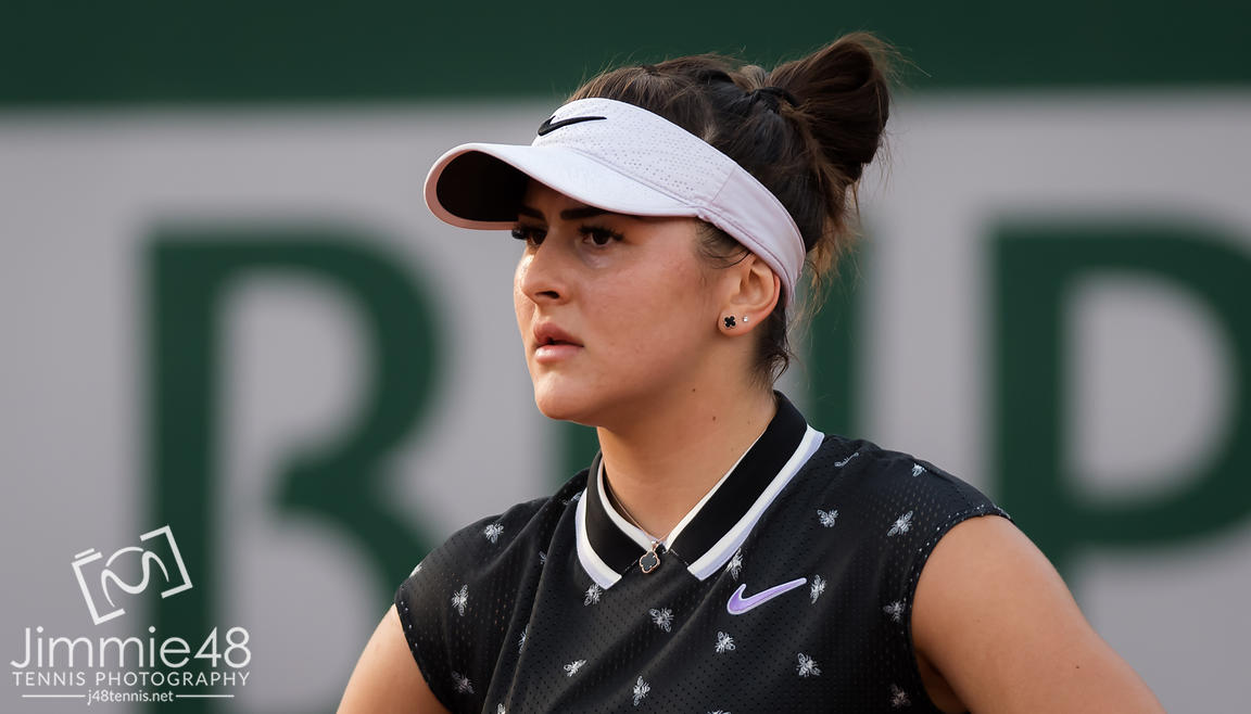 Bianca Andreescu of Canada in action during her first-round match at the 2019 Roland Garros Grand Slam tennis tournament