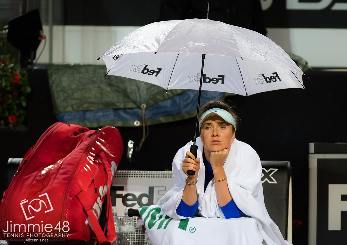Elina Svitolina of the Ukraine during a rain delay during her second-round match at the 2019 Internazionali BNL d'Italia WTA Premier 5 tennis tournament