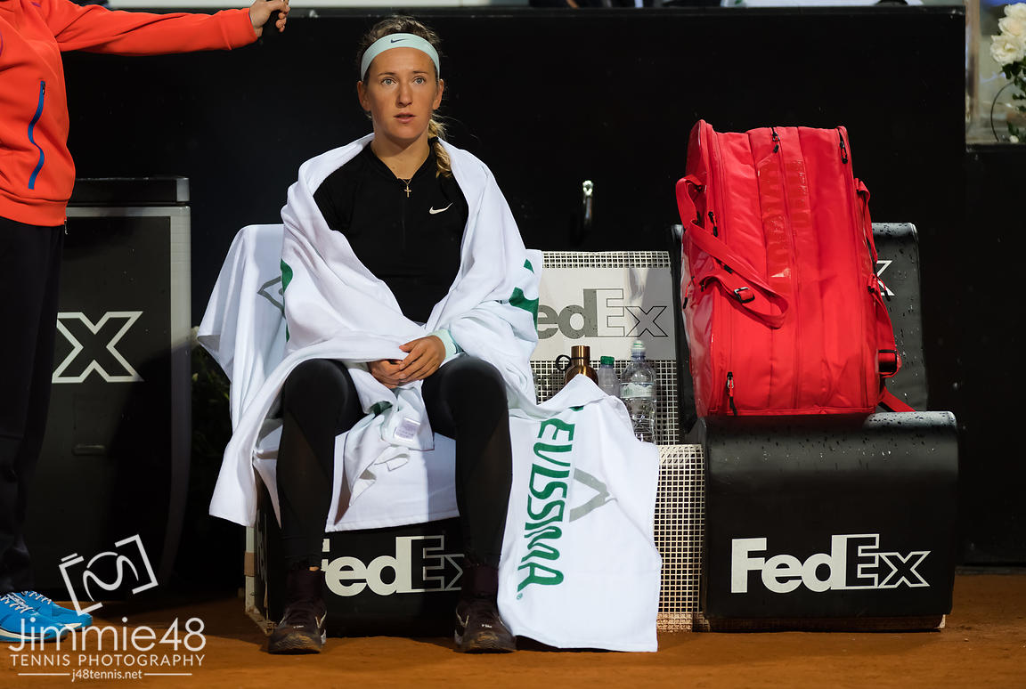 Victoria Azarenka of Belarus during a rain delay during her second-round match at the 2019 Internazionali BNL d'Italia WTA Premier 5 tennis tournament