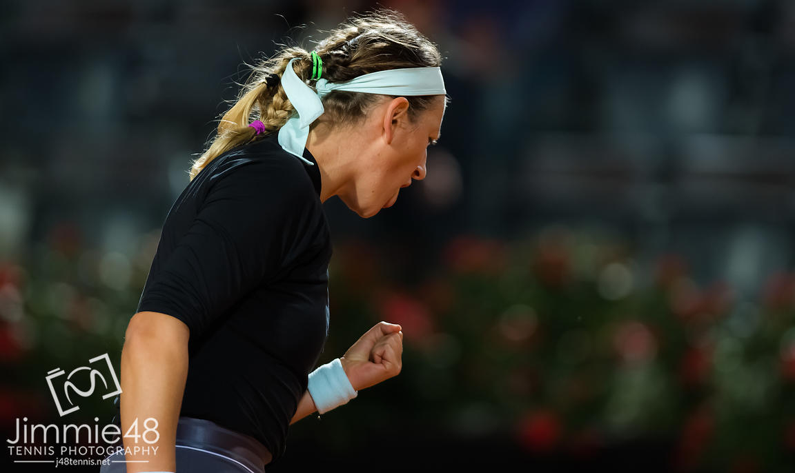 Victoria Azarenka of Belarus in action during her second-round match at the 2019 Internazionali BNL d'Italia WTA Premier 5 tennis tournament