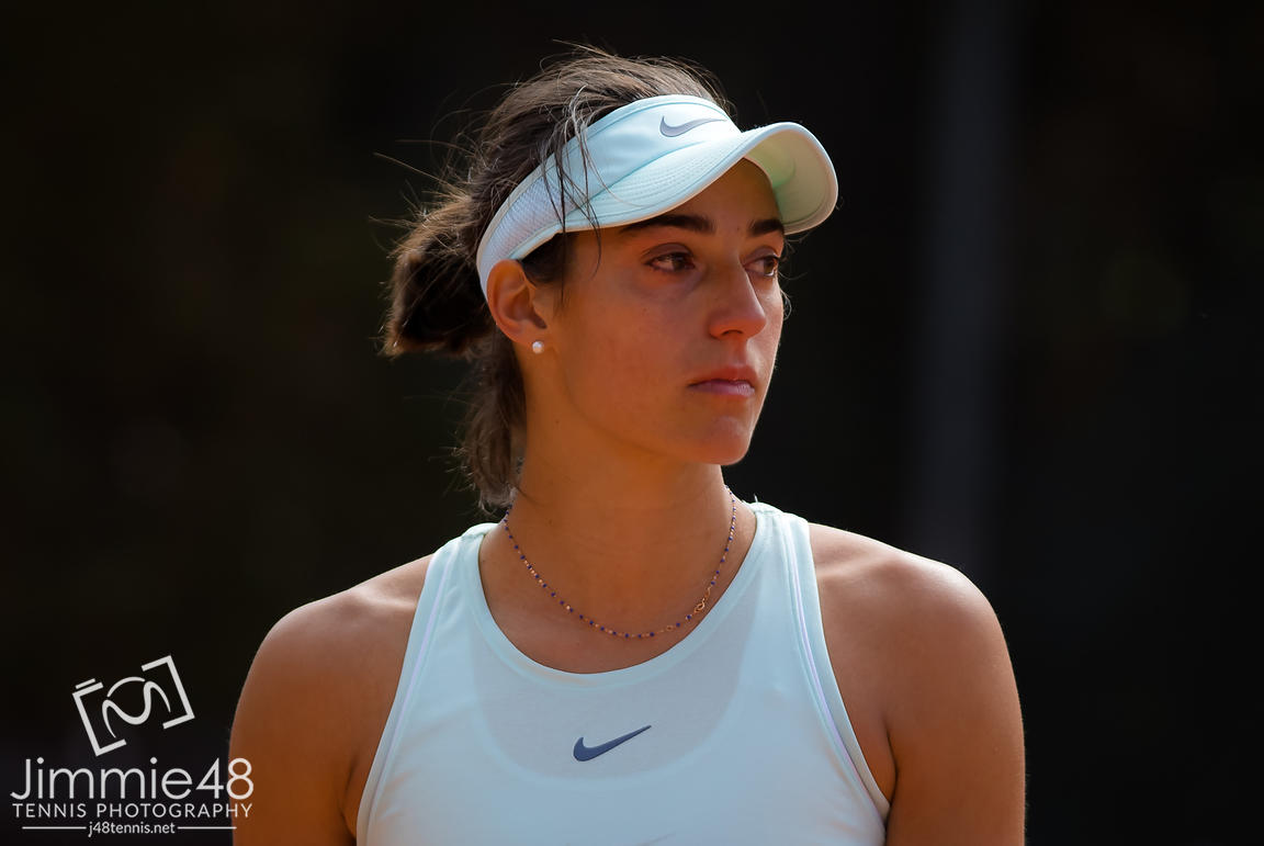 Caroline Garcia of France in action during her first-round match at the 2019 Internazionali BNL d'Italia WTA Premier 5 tennis tournament