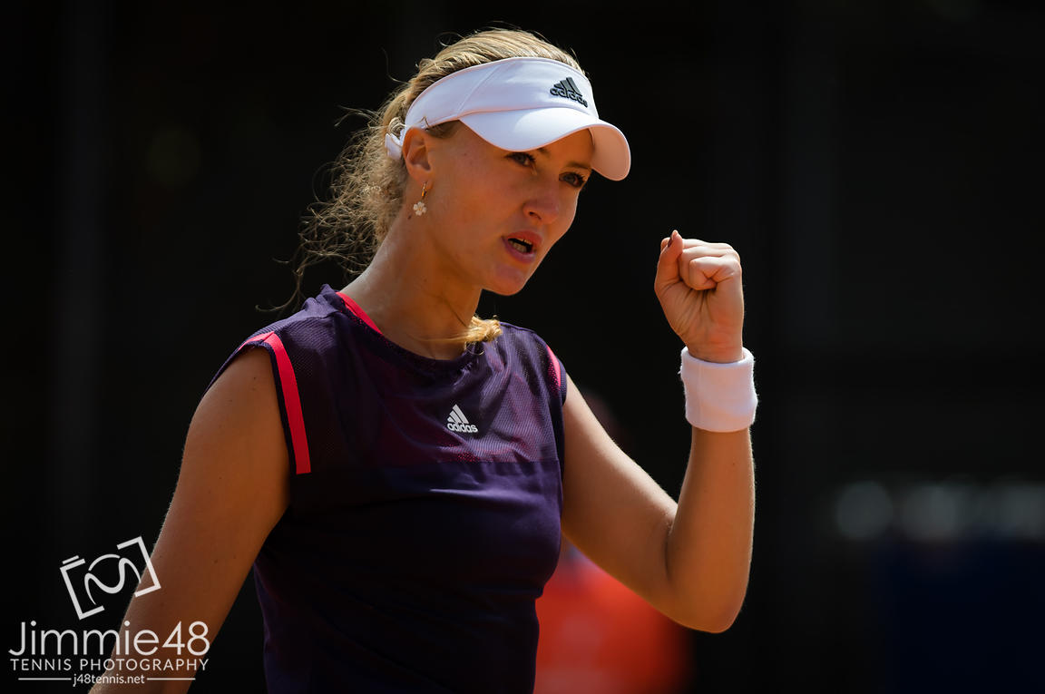 Kristina Mladenovic of France in action during her first-round match at the 2019 Internazionali BNL d'Italia WTA Premier 5 tennis tournament