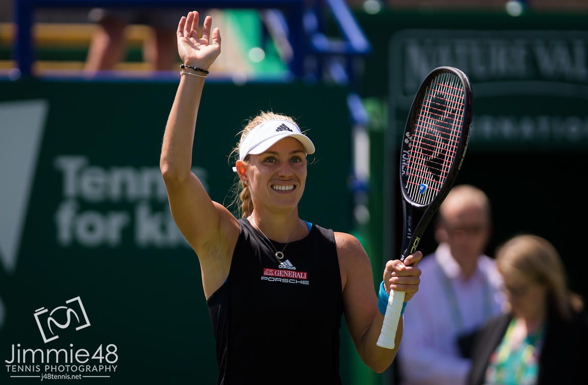 Angelique Kerber of Germany in action during her quarter-final match at the 2019 Nature Valley International WTA Premier tennis tournament