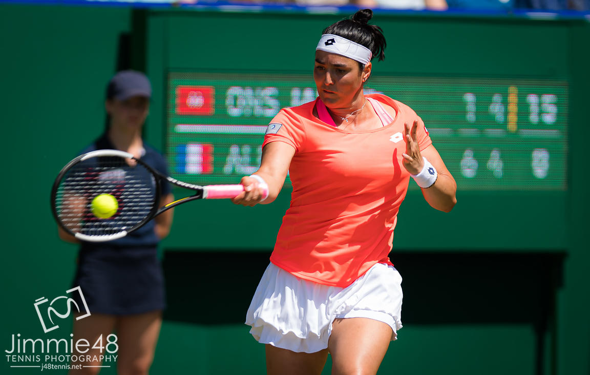 Ons Jabeur of Tunisia in action during her quarter-final match at the 2019 Nature Valley International WTA Premier tennis tournament