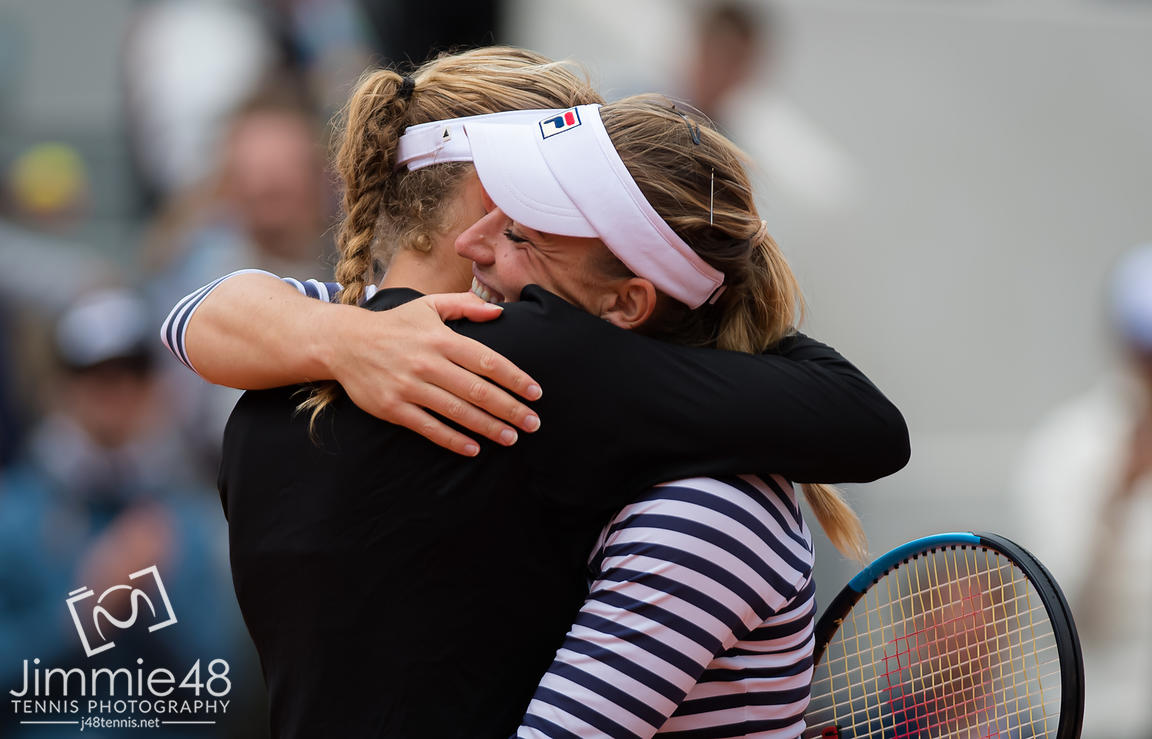 Timea Babos of Hungary & Kristina Mladenovic of France in action during the doubles semi-final at the 2019 Roland Garros Grand Slam tennis tournament