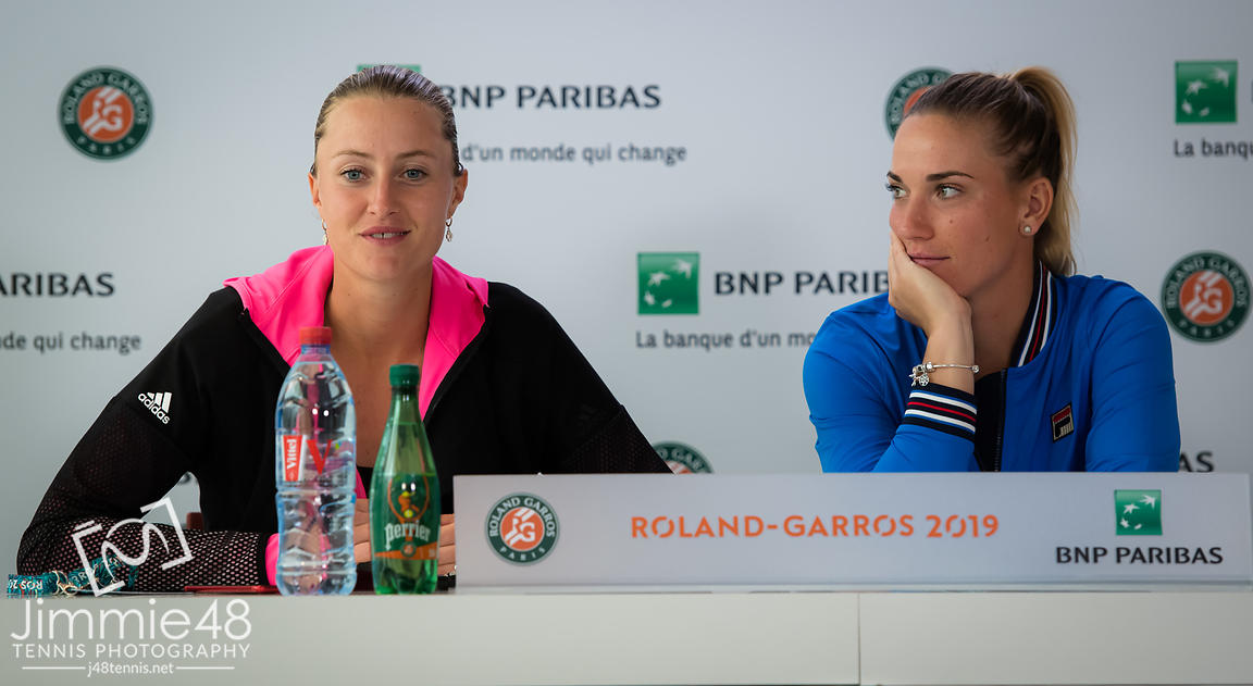 Kristina Mladenovic of France & Timea Babos of Hungary talk to the media after reaching the doubles final at the 2019 Roland Garros Grand Slam tennis tournament