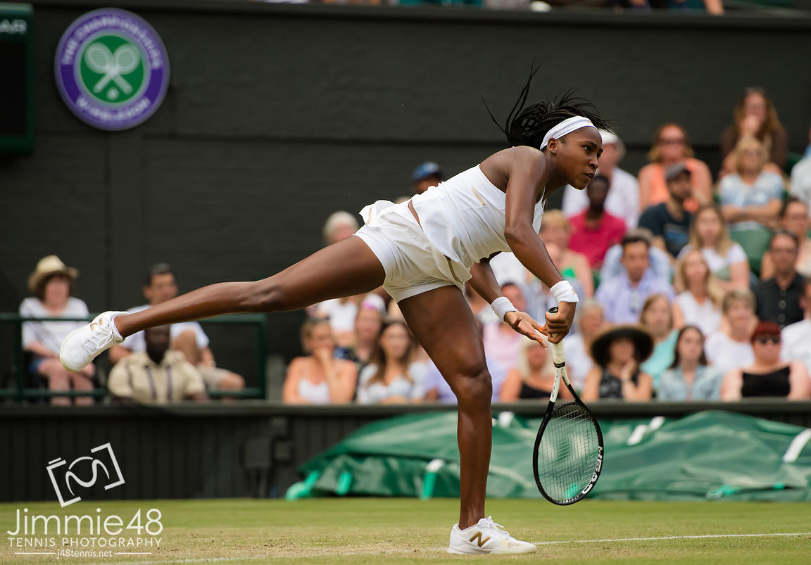 Cori Gauff of the United States in action during her third-round match at the 2019 Wimbledon Championships Grand Slam Tennis Tournament