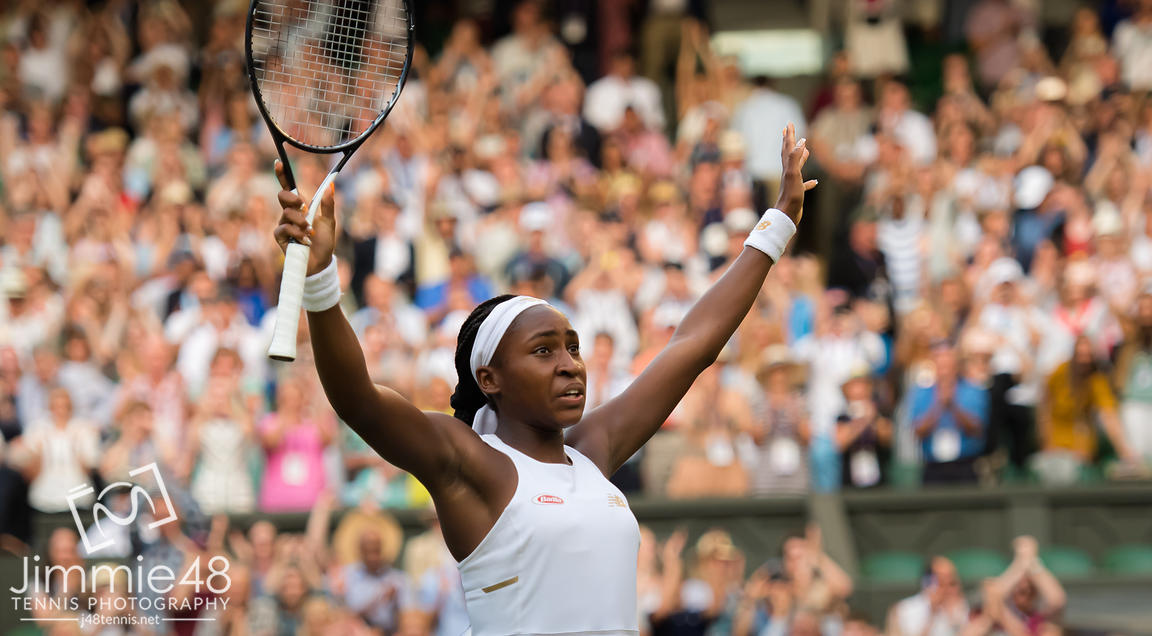 Cori Gauff of the United States celebrates winning her third-round match at the 2019 Wimbledon Championships Grand Slam Tennis Tournament