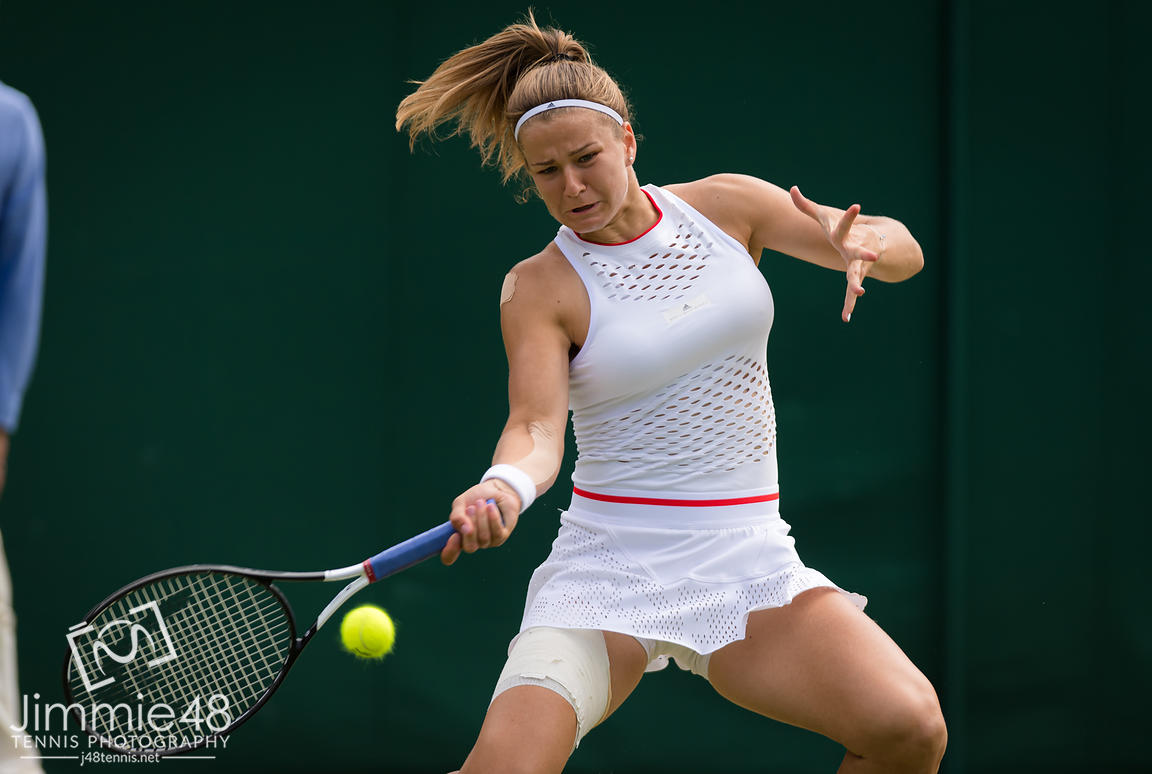 Karolina Muchova of the Czech Republic in action during her third-round match at the 2019 Wimbledon Championships Grand Slam Tennis Tournament