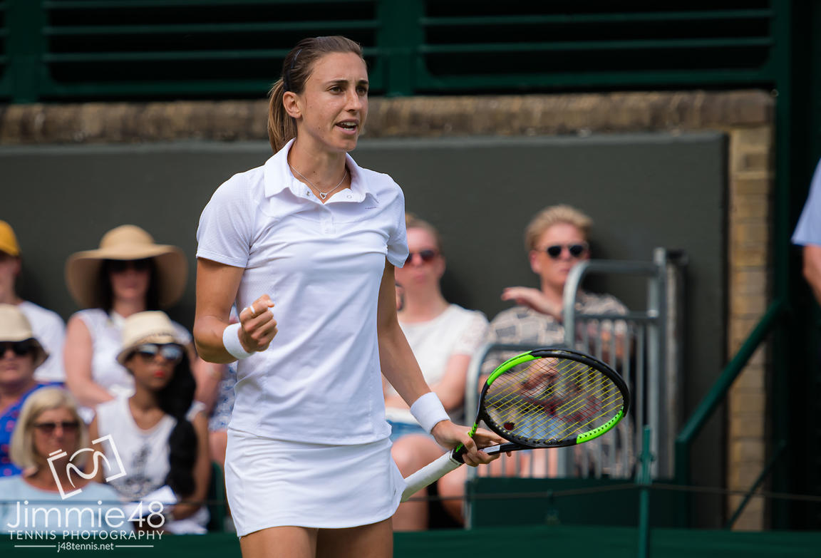Petra Martic of Croatia in action during her third-round match at the 2019 Wimbledon Championships Grand Slam Tennis Tournament