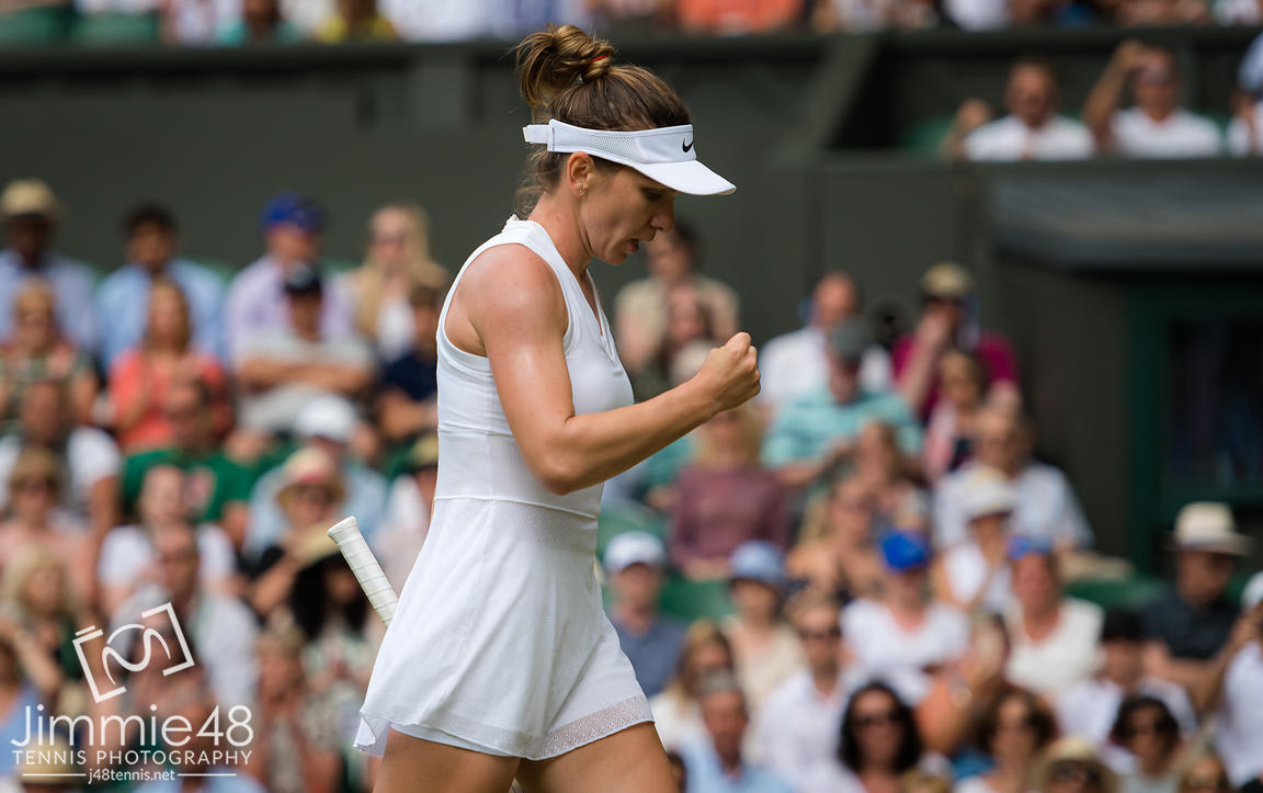 Simona Halep of Romania in action during her third-round match at the 2019 Wimbledon Championships Grand Slam Tennis Tournament
