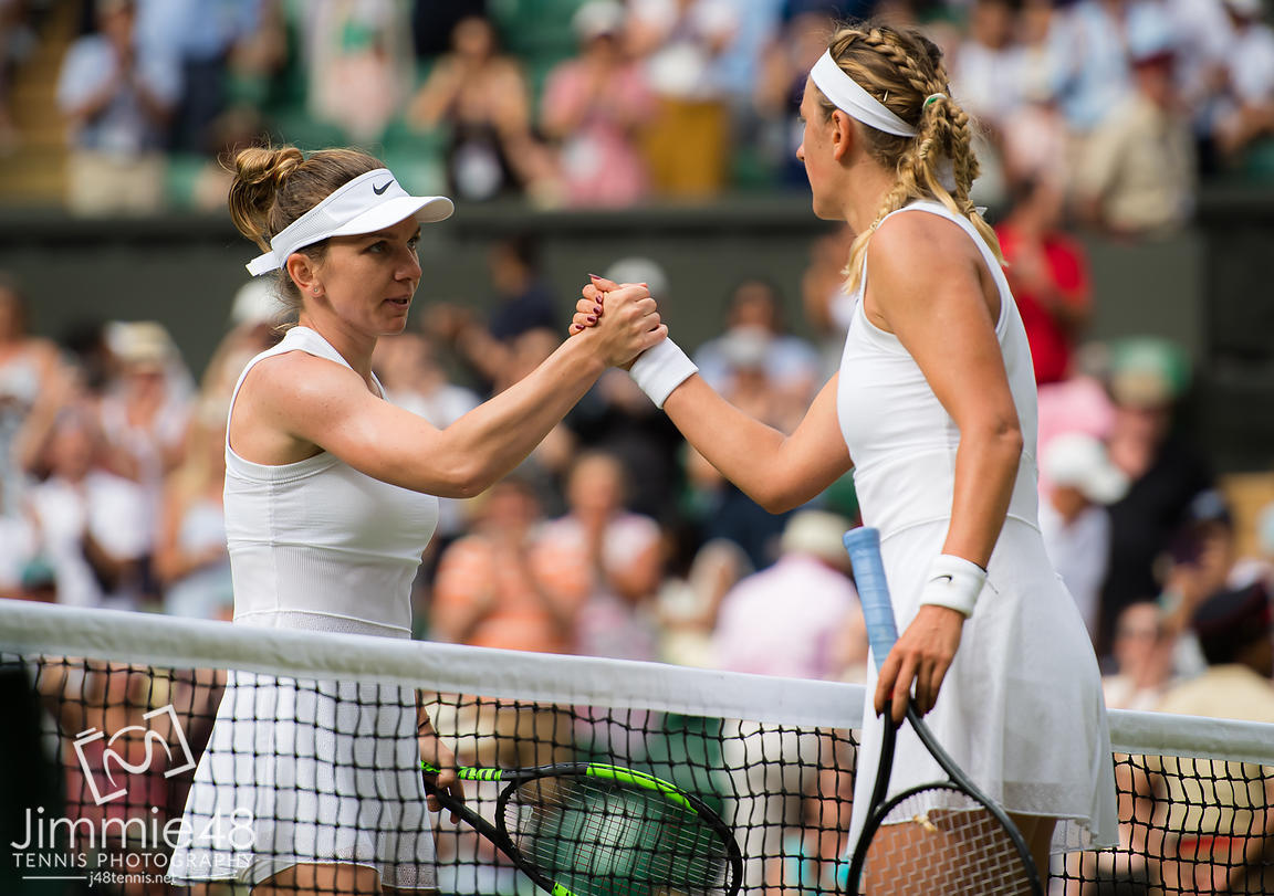 Simona Halep of Romania & Victoria Azarenka of Belarus at the net after their third-round match at the 2019 Wimbledon Championships Grand Slam Tennis Tournament