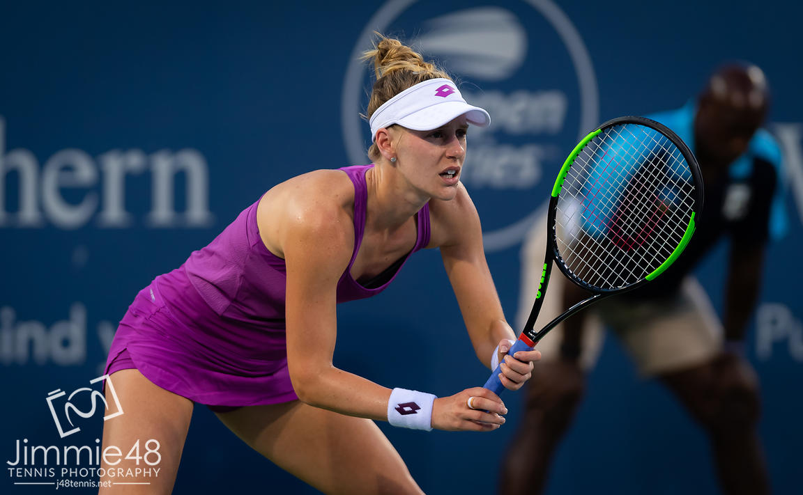 Alison Riske of the United States in action during her first-round match at the 2019 Western & Southern Open WTA Premier Tennis 5 Tournament