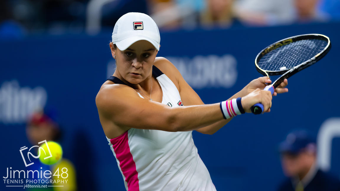 Ashleigh Barty of Australia in action during her second-round match at the 2019 US Open Grand Slam tennis tournament