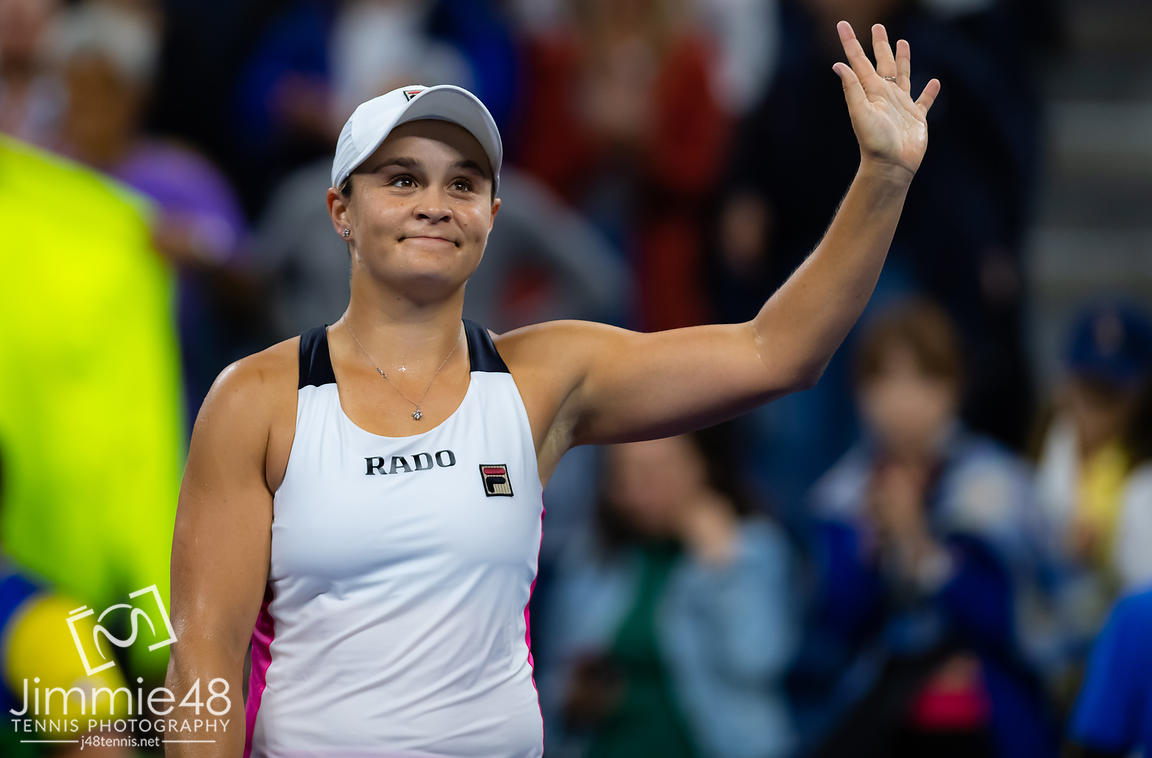 Ashleigh Barty of Australia after winning her second-round match at the 2019 US Open Grand Slam tennis tournament