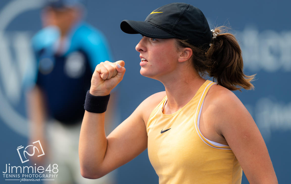 Iga Swiatek of Poland in action during the first round at the 2019 Western & Southern Open WTA Premier Tennis 5 Tournament