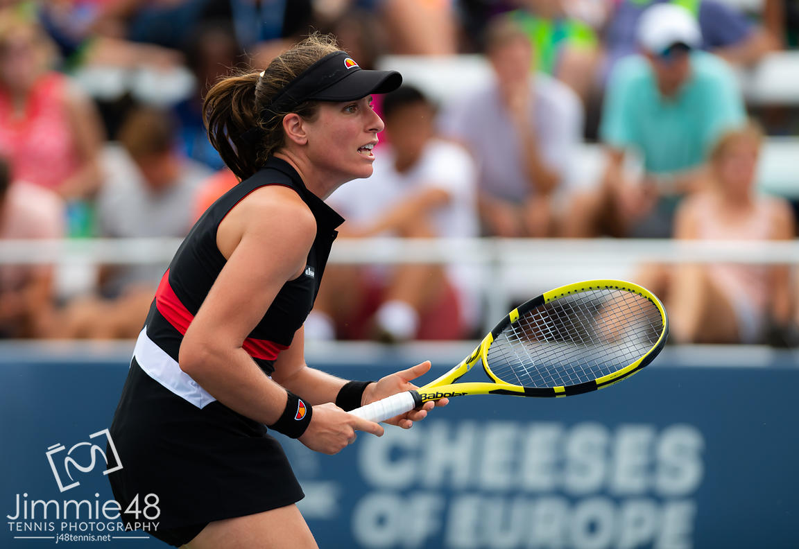 Johanna Konta of Great Britain in action during the first round at the 2019 Western & Southern Open WTA Premier Tennis 5 Tournament
