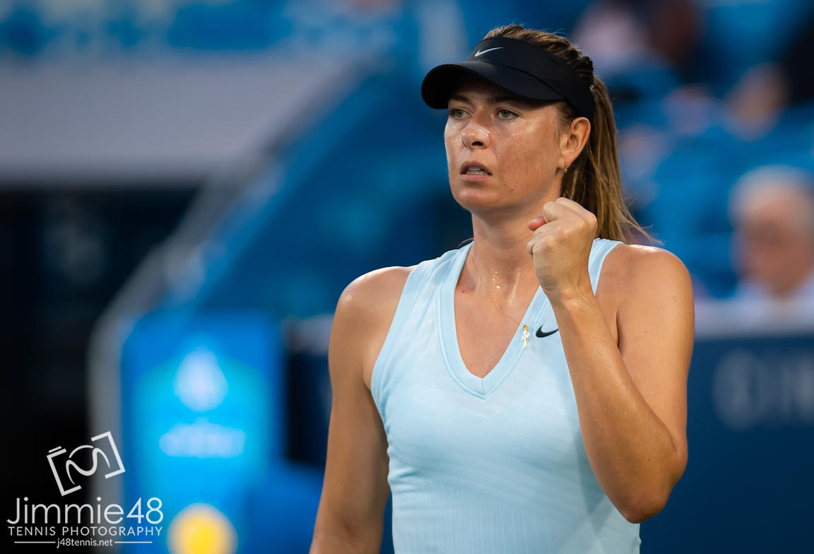 Maria Sharapova of Russia in action during her first-round match at the 2019 Western & Southern Open WTA Premier Tennis 5 Tournament