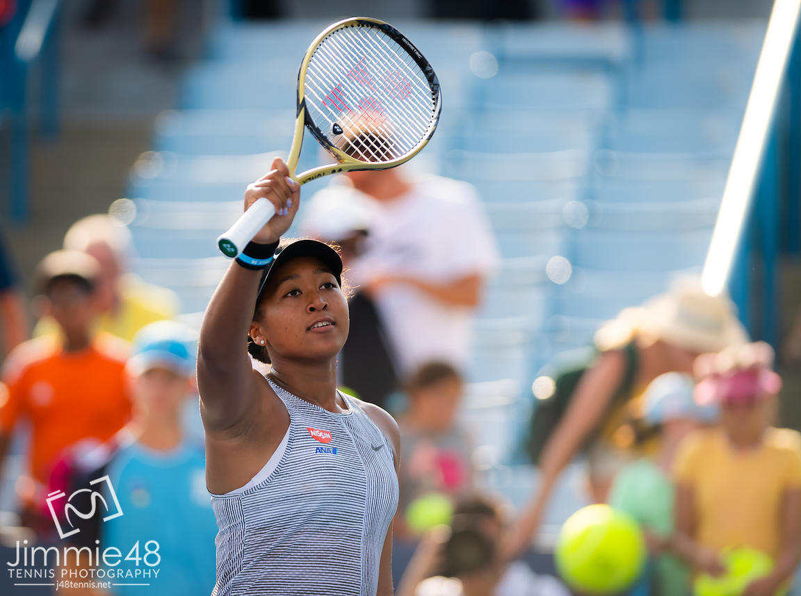 Naomi Osaka of Japan after winning her second-round match at the 2019 Western & Southern Open WTA Premier Tennis 5 Tournament
