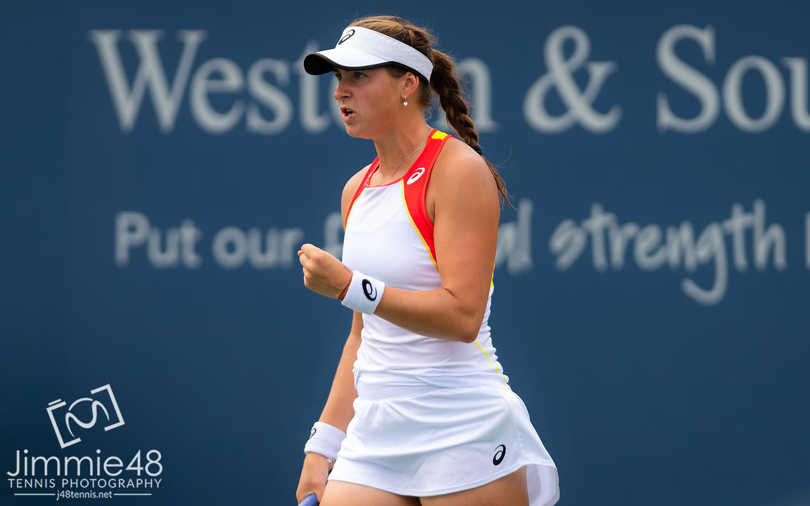 Rebecca Peterson of Sweden in action during the first round at the 2019 Western & Southern Open WTA Premier Tennis 5 Tournament