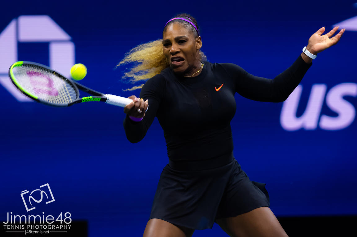 Serena Williams of the United States in action during her second-round match at the 2019 US Open Grand Slam tennis tournament