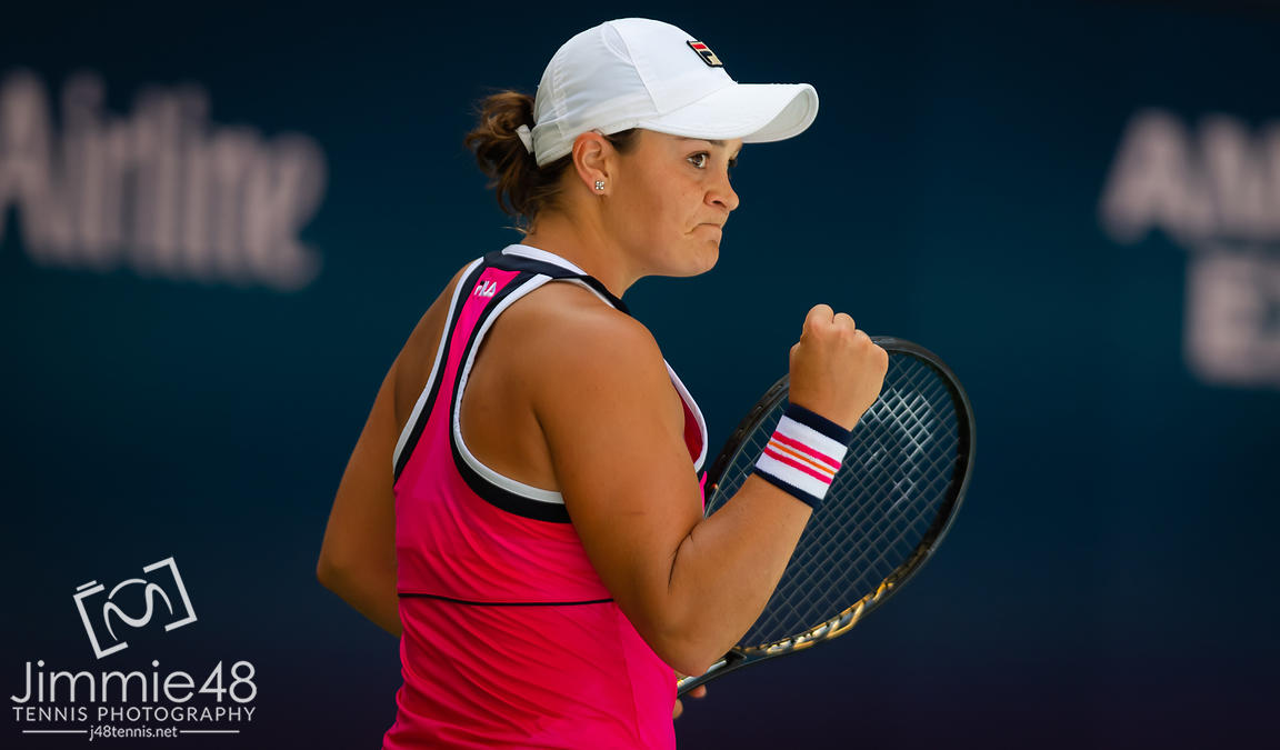 Ashleigh Barty of Australia in action during the first round of the 2019 US Open Grand Slam tennis tournament