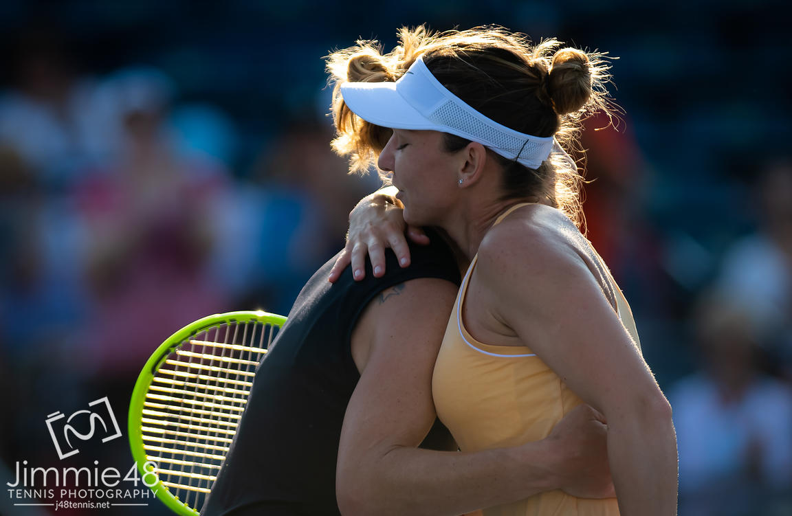 Svetlana Kuznetsova of Russia & Simona Halep of Romania at the net after their second round match at the 2019 Rogers Cup WTA Premier Tennis 5 Tournament