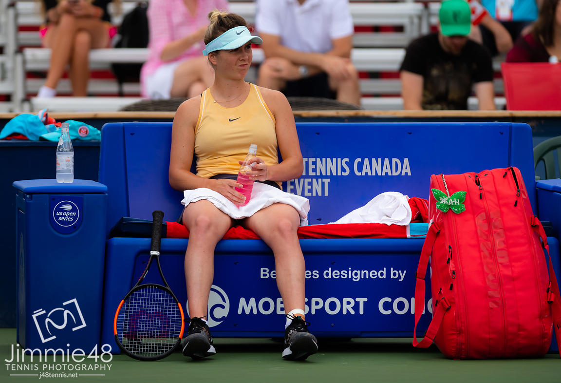 Elina Svitolina of the Ukraine in action during her second-round match at the 2019 Rogers Cup WTA Premier Tennis 5 Tournament