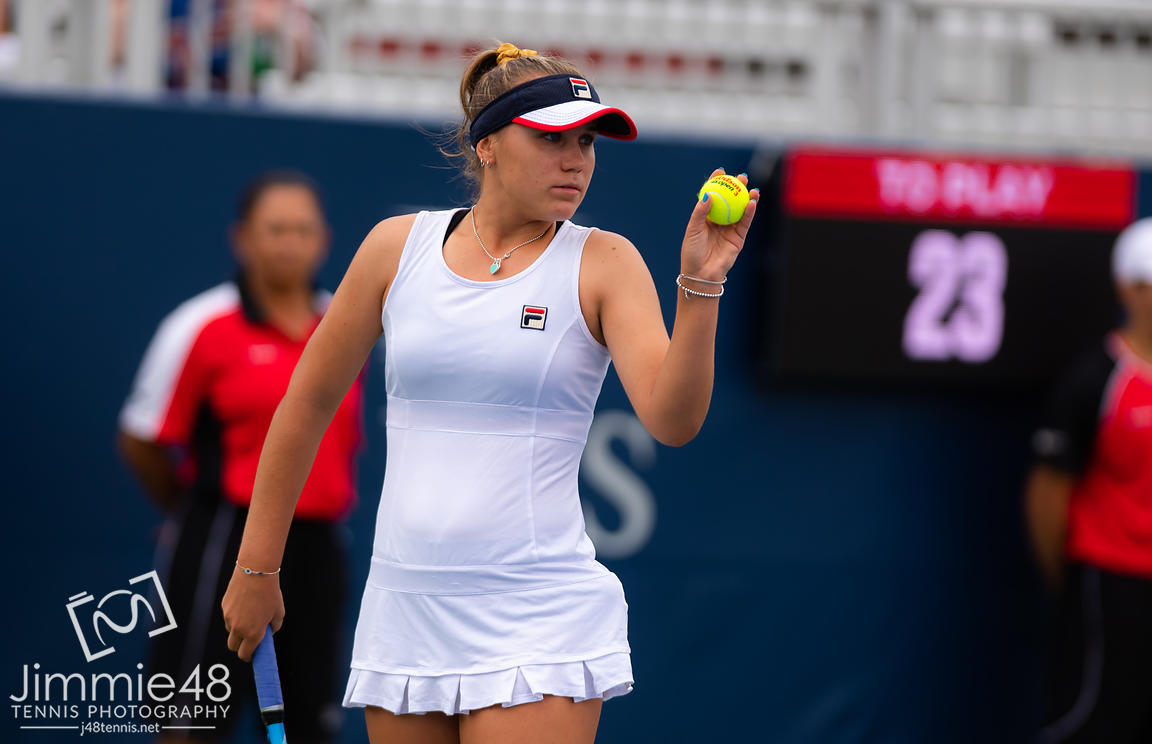 Sofia Kenin of the United States in action during her second-round match at the 2019 Rogers Cup WTA Premier Tennis 5 Tournament