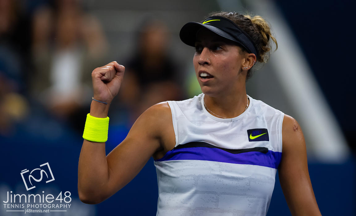 Madison Keys of the United States in action during her second-round match at the 2019 US Open Grand Slam tennis tournament