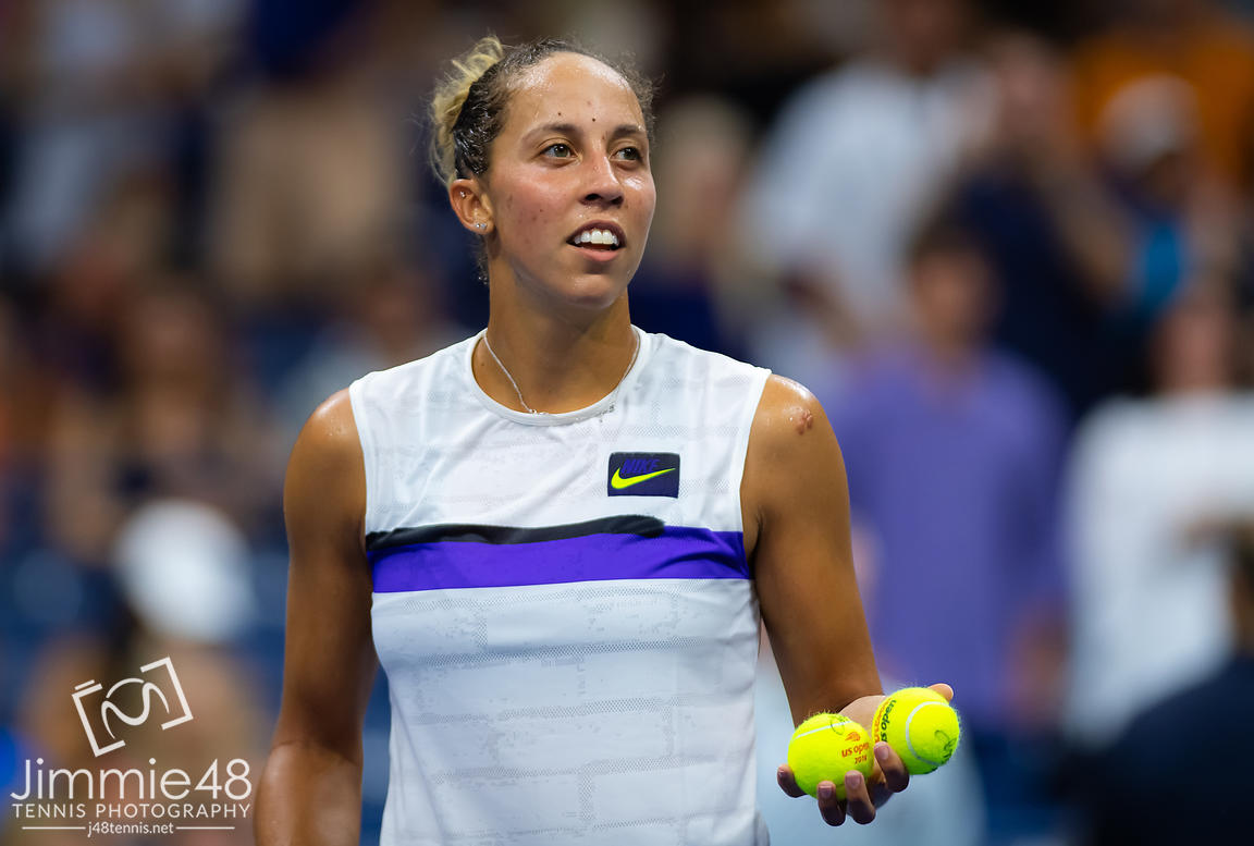 Madison Keys of the United States in action during her third-round match at the 2019 US Open Grand Slam tennis tournament