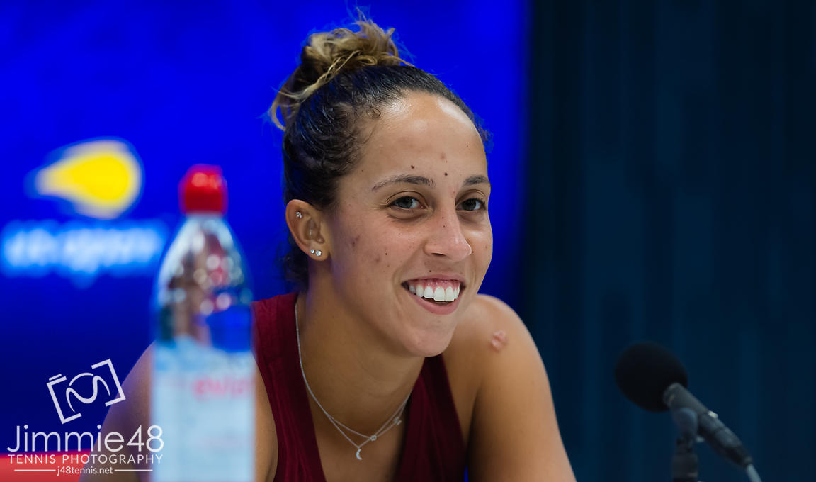 Madison Keys of the United States talks to the media after winning her second-round match at the 2019 US Open Grand Slam tennis tournament