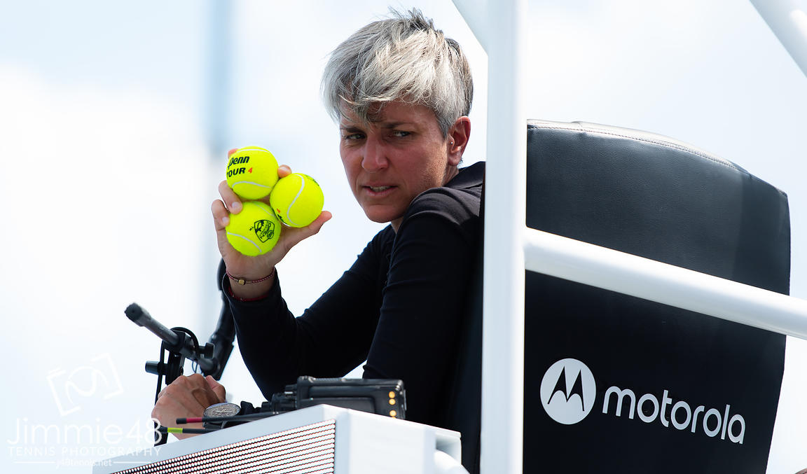 Marija Cicak in action during the final of the 2019 Western & Southern Open WTA Premier Tennis 5 Tournament