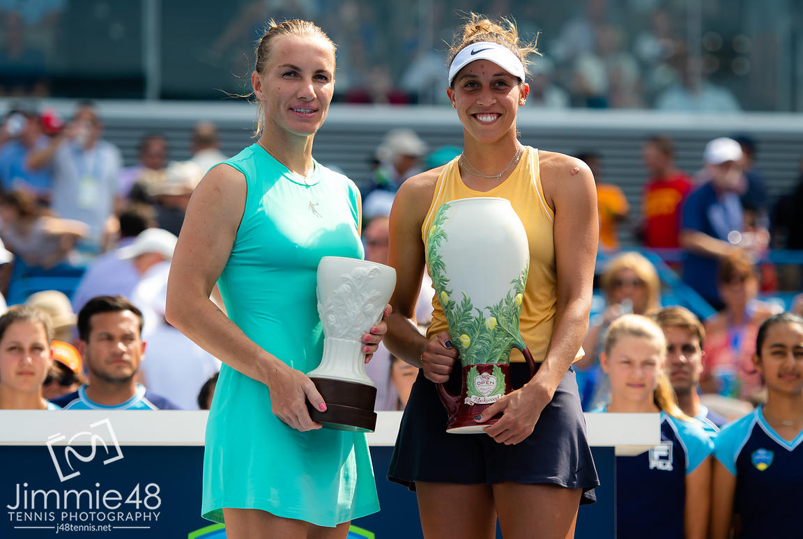 Svetlana Kuznetsova of Russia & Madison Keys of the United States with their trophies after the final of the 2019 Western & Southern Open WTA Premier Tennis 5 Tournament
