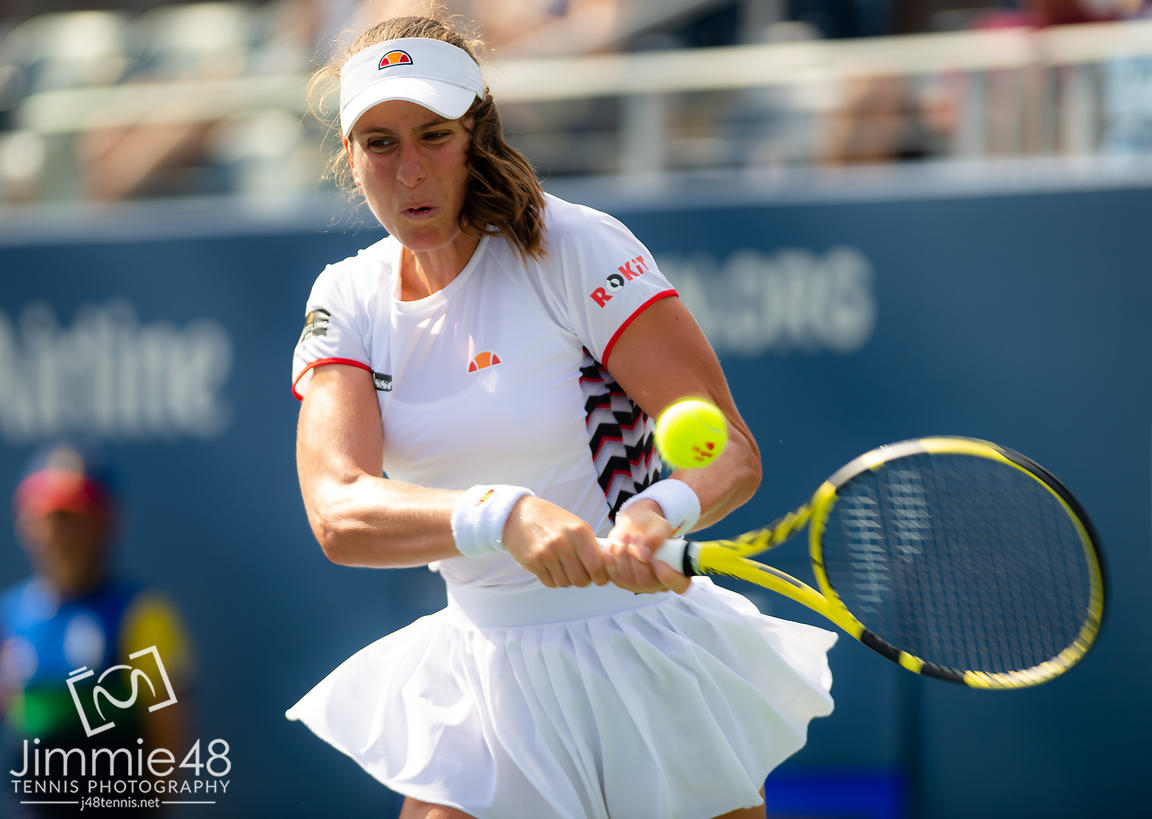 Johanna Konta of Great Britain in action during her third-round match at the 2019 US Open Grand Slam tennis tournament