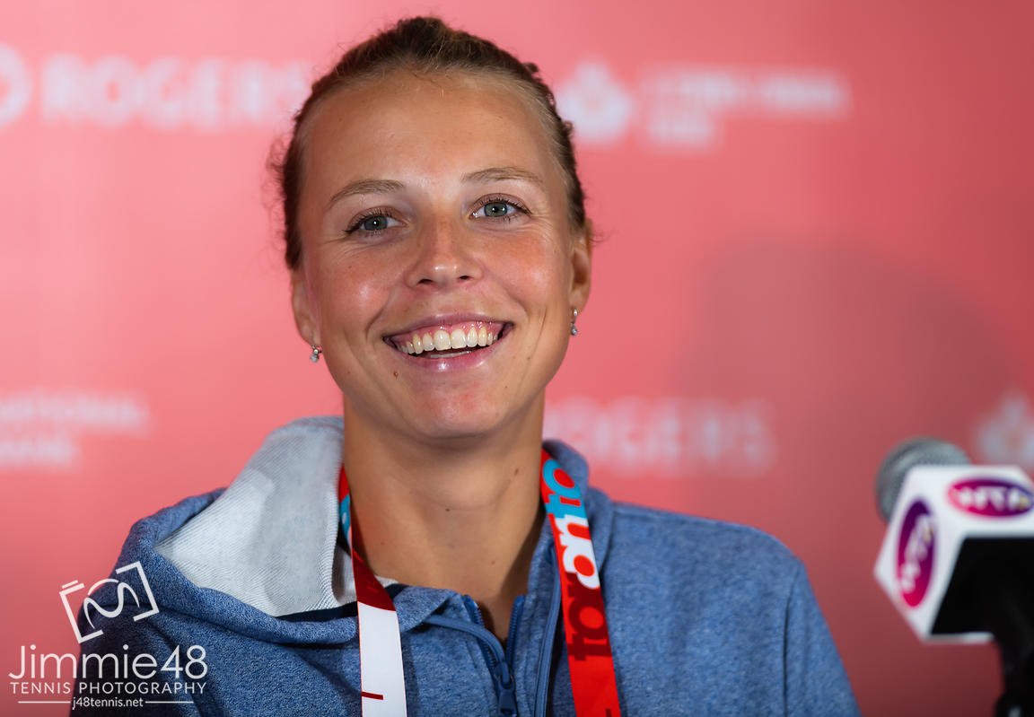 Anett Kontaveit of Estonia talks to the media after winning her first-round match at the 2019 Rogers Cup WTA Premier Tennis 5 Tournament