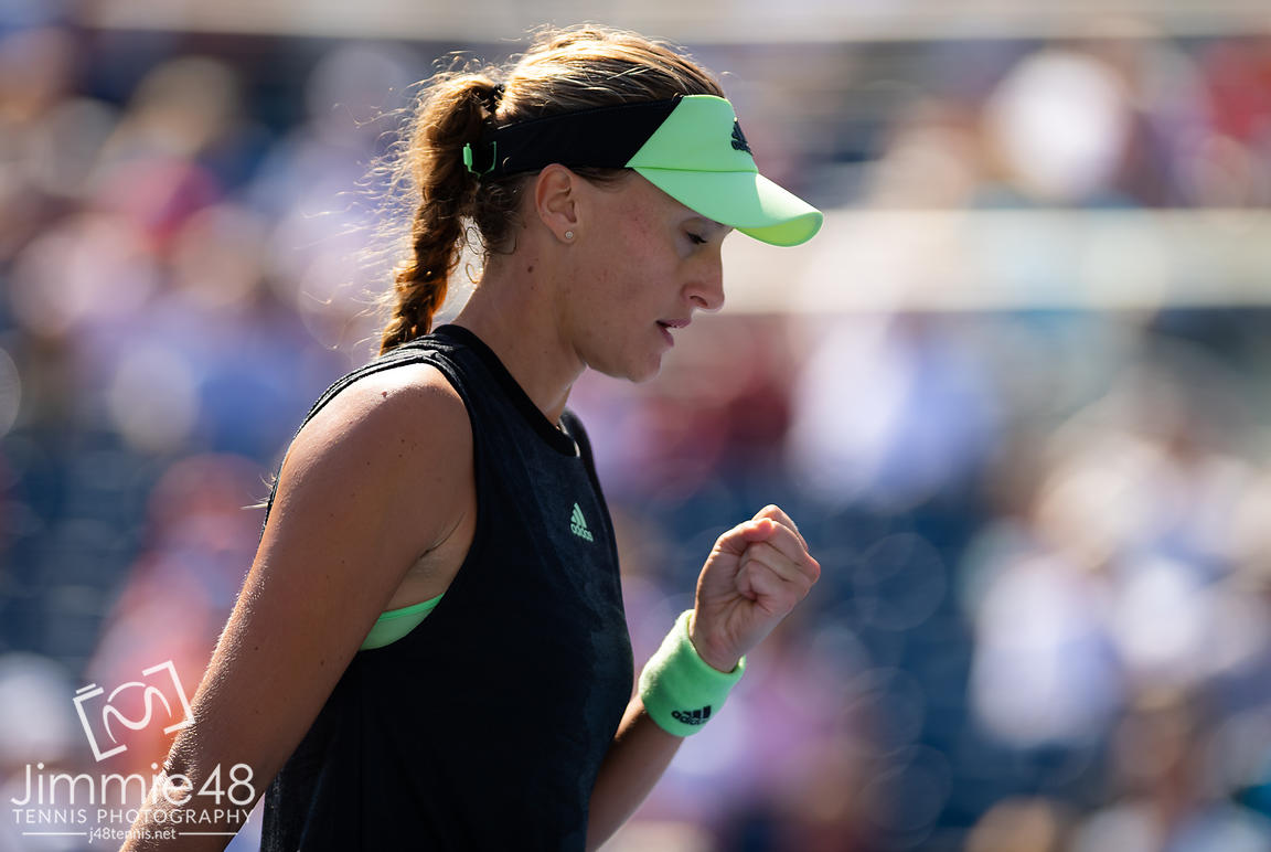 Kristina Mladenovic of France in action during the first round of the 2019 US Open Grand Slam tennis tournament