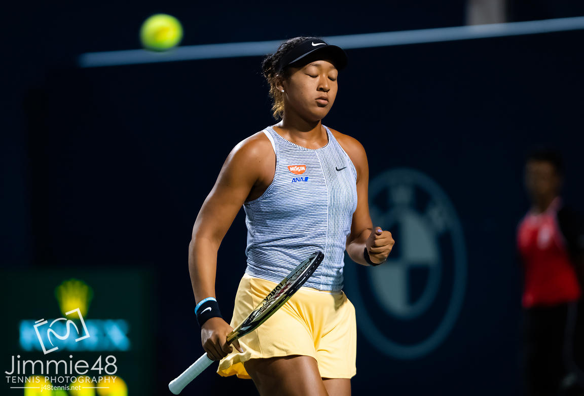 Naomi Osaka of Japan in action during her second round match at the 2019 Rogers Cup WTA Premier Tennis 5 Tournament