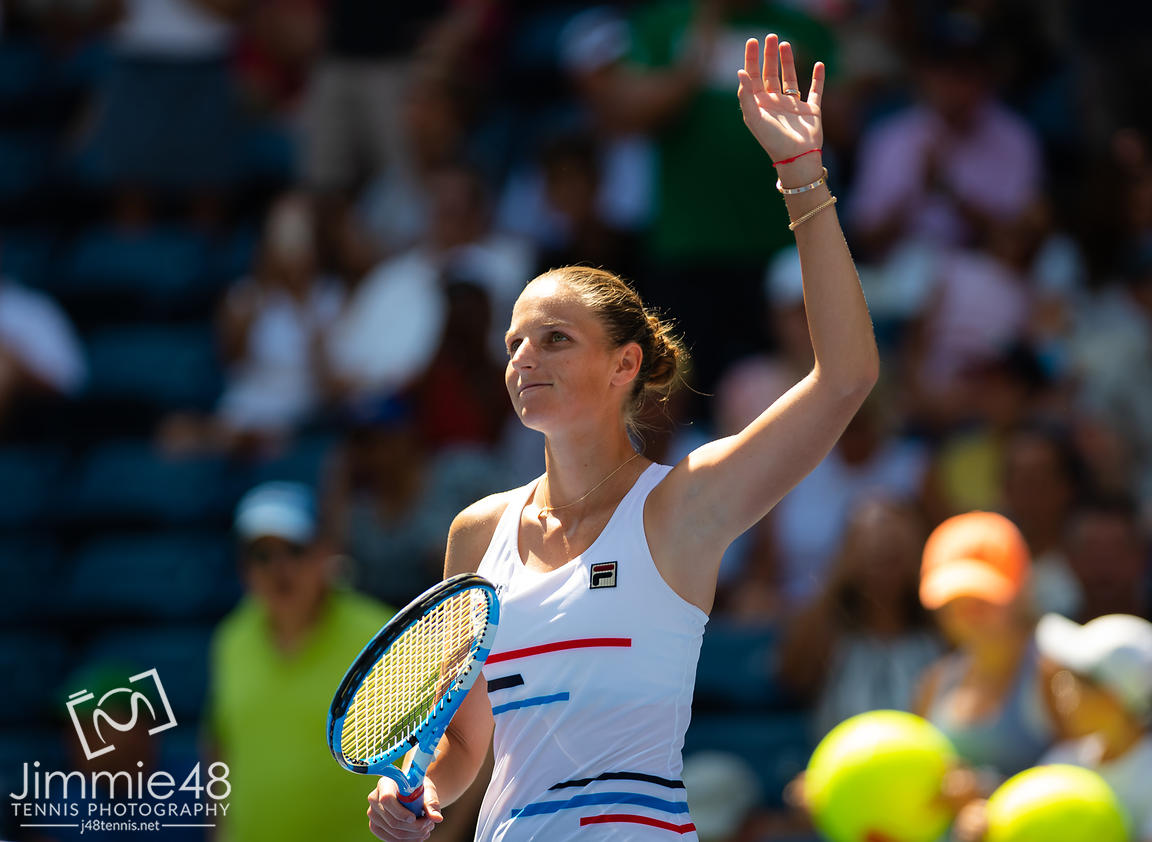 Karolina Pliskova of the Czech Republicä in action during her third-round match at the 2019 US Open Grand Slam tennis tournament