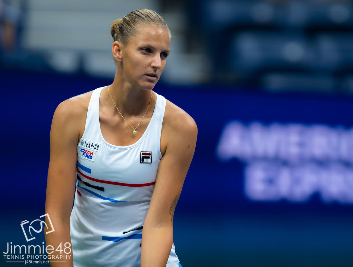 Karolina Pliskova of the Czech Republic in action during her second-round match at the 2019 US Open Grand Slam tennis tournament