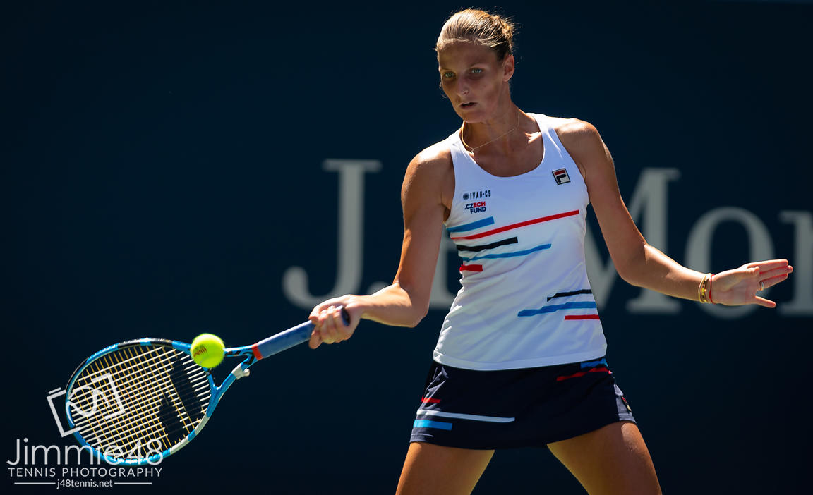 Karolina Pliskova of the Czech Republic in action during her third-round match at the 2019 US Open Grand Slam tennis tournament