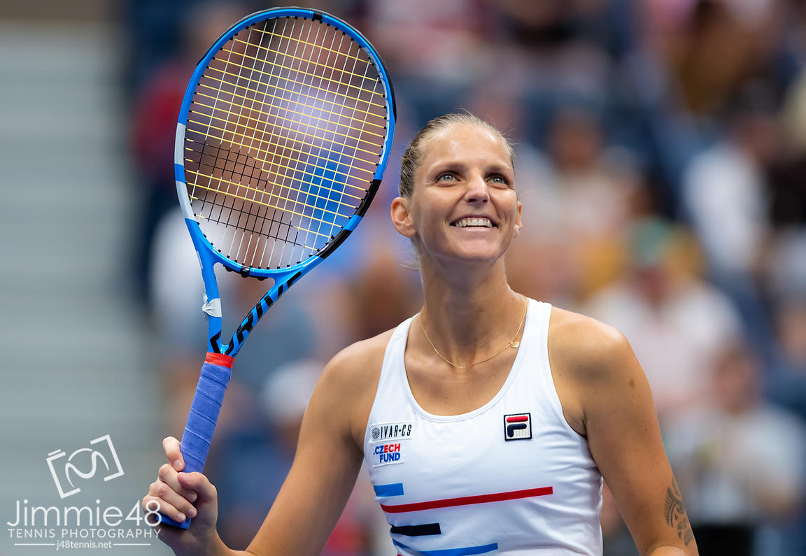 Karolina Pliskova of the Czech Republic celebrates winning her second-round match at the 2019 US Open Grand Slam tennis tournament