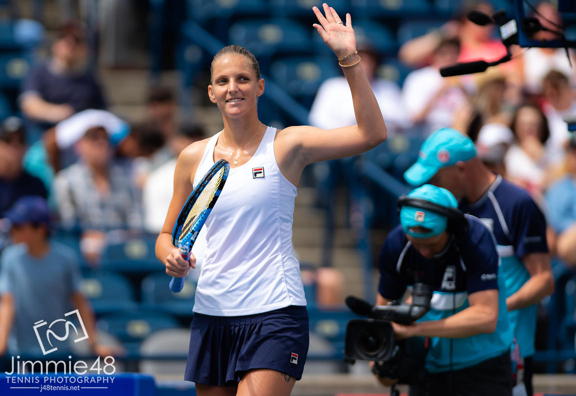 Karolina Pliskova of the Czech Republic in action during her second-round match at the 2019 Rogers Cup WTA Premier Tennis 5 Tournament