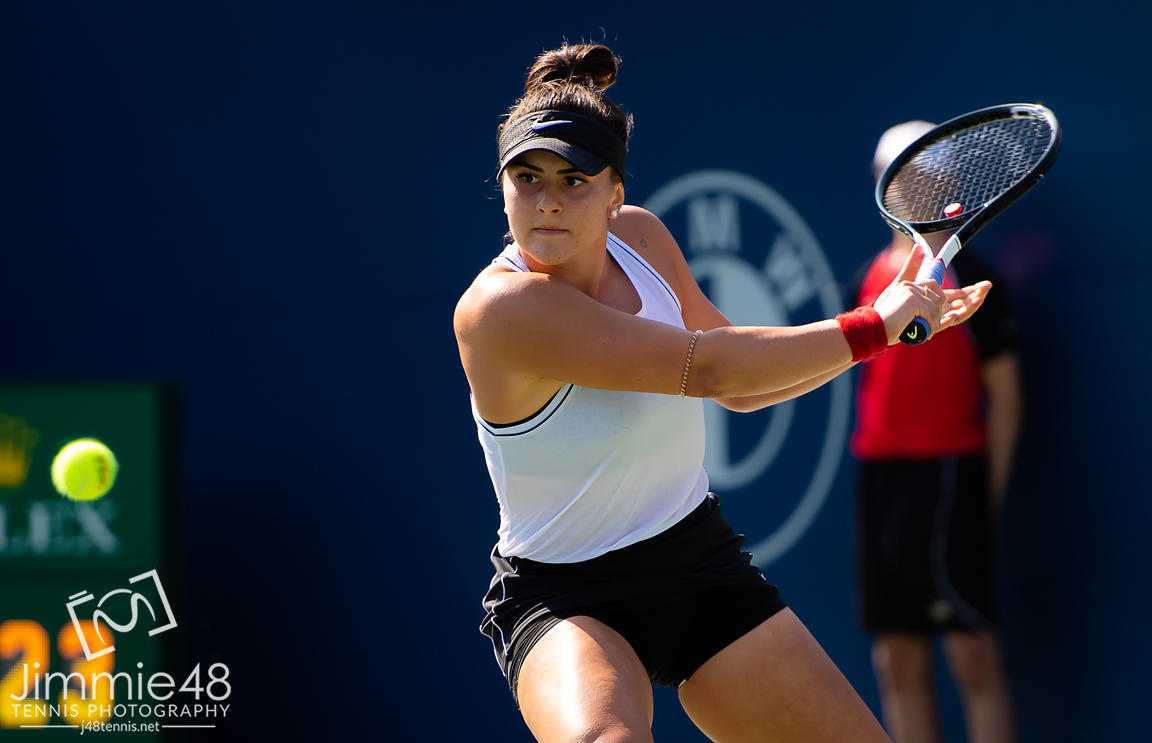 Bianca Andreescu of Canada in action during the second round at the 2019 Rogers Cup WTA Premier Tennis 5 Tournament