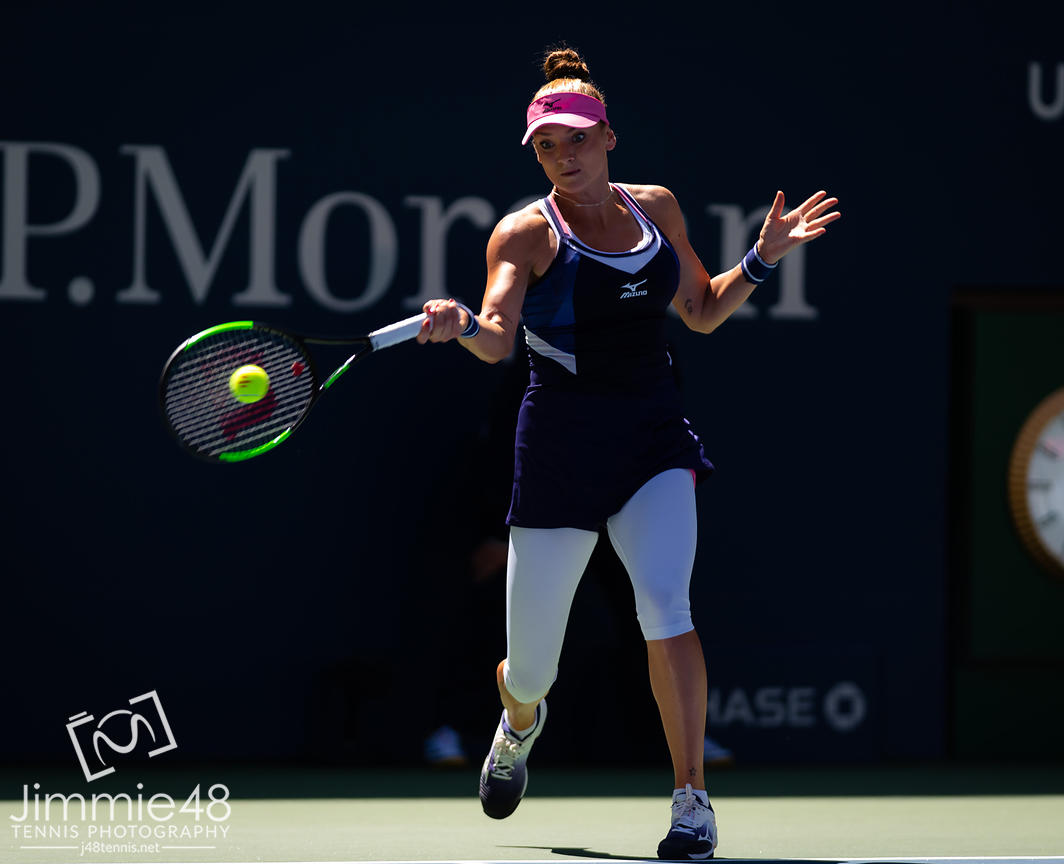Tereza Martincova of the Czech Republic in action during the first round of the 2019 US Open Grand Slam tennis tournament