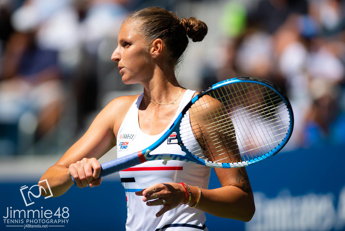 Karolina Pliskova of the Czech Republic in action during the first round of the 2019 US Open Grand Slam tennis tournament