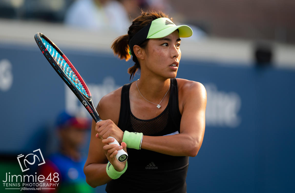 Qiang Wang of China in action during the third-round at the 2019 US Open Grand Slam tennis tournament