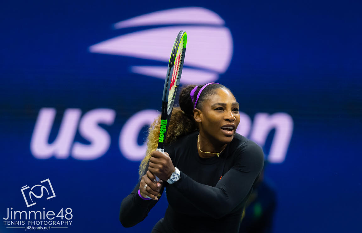 Serena Williams of the United States in action during her first round match at the 2019 US Open Grand Slam tennis tournament