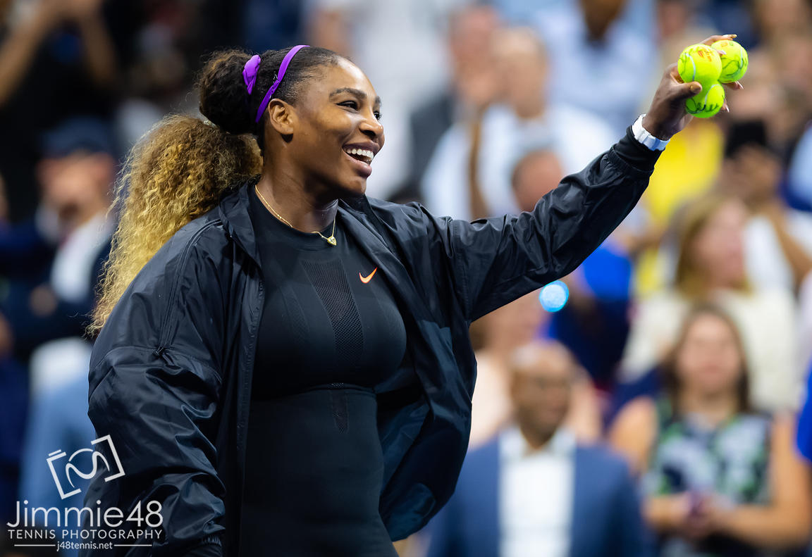 Serena Williams of the United States celebrates winning her first round match at the 2019 US Open Grand Slam tennis tournament